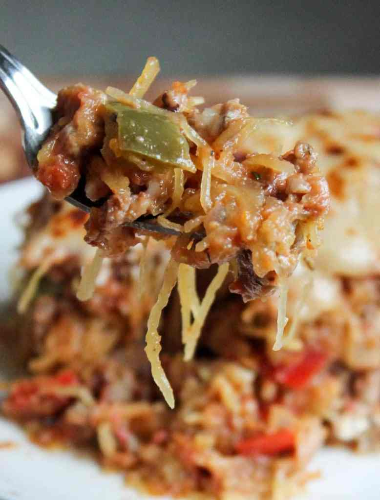 Sausage and Peppers Spaghetti Squash Casserole