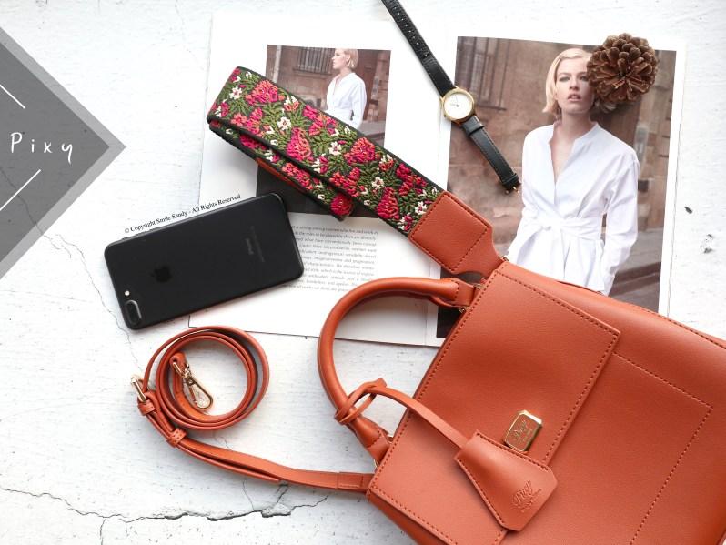 Pixy波希米亞刺繡寬背帶手提包