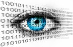 Blue human eye and binary system numbers - Tehnology concept