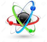 atomo Central-nucleus-surrounded-by-color-electrons-on-white--Stock-Vector