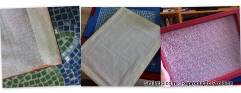 quadro recados e fotos aplicação de tecido
