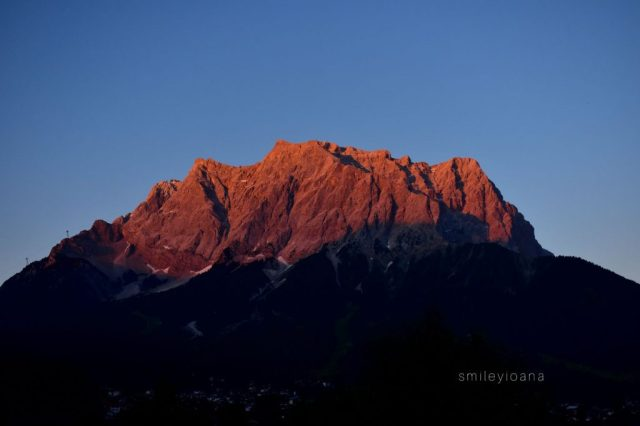 Zugspitze Mountain at Sunset. View from Zugspitze Arena in Tirol at Themed Mountain Fires:.