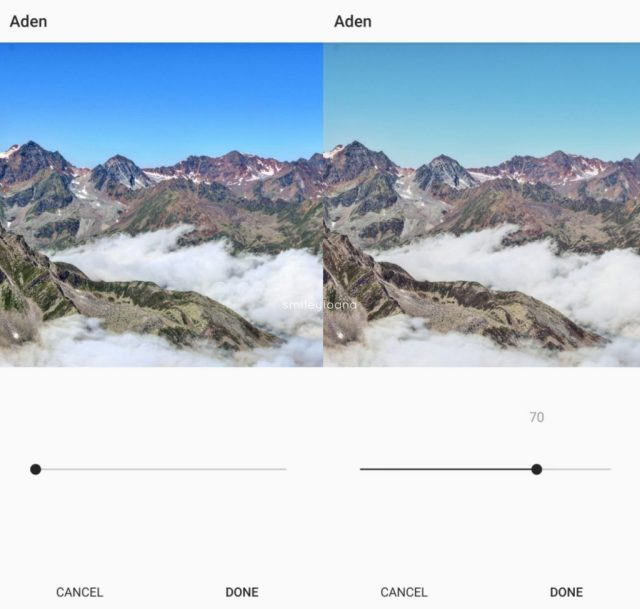 Instagram Edit tip 5 Mountain panorama photo. Using Aden Filter filter to value 70