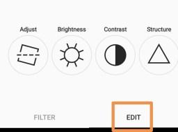 Instagram edit and adjustment panel