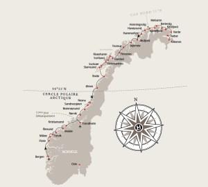 Notre itinéraire (source : www.hurtigruten.com)
