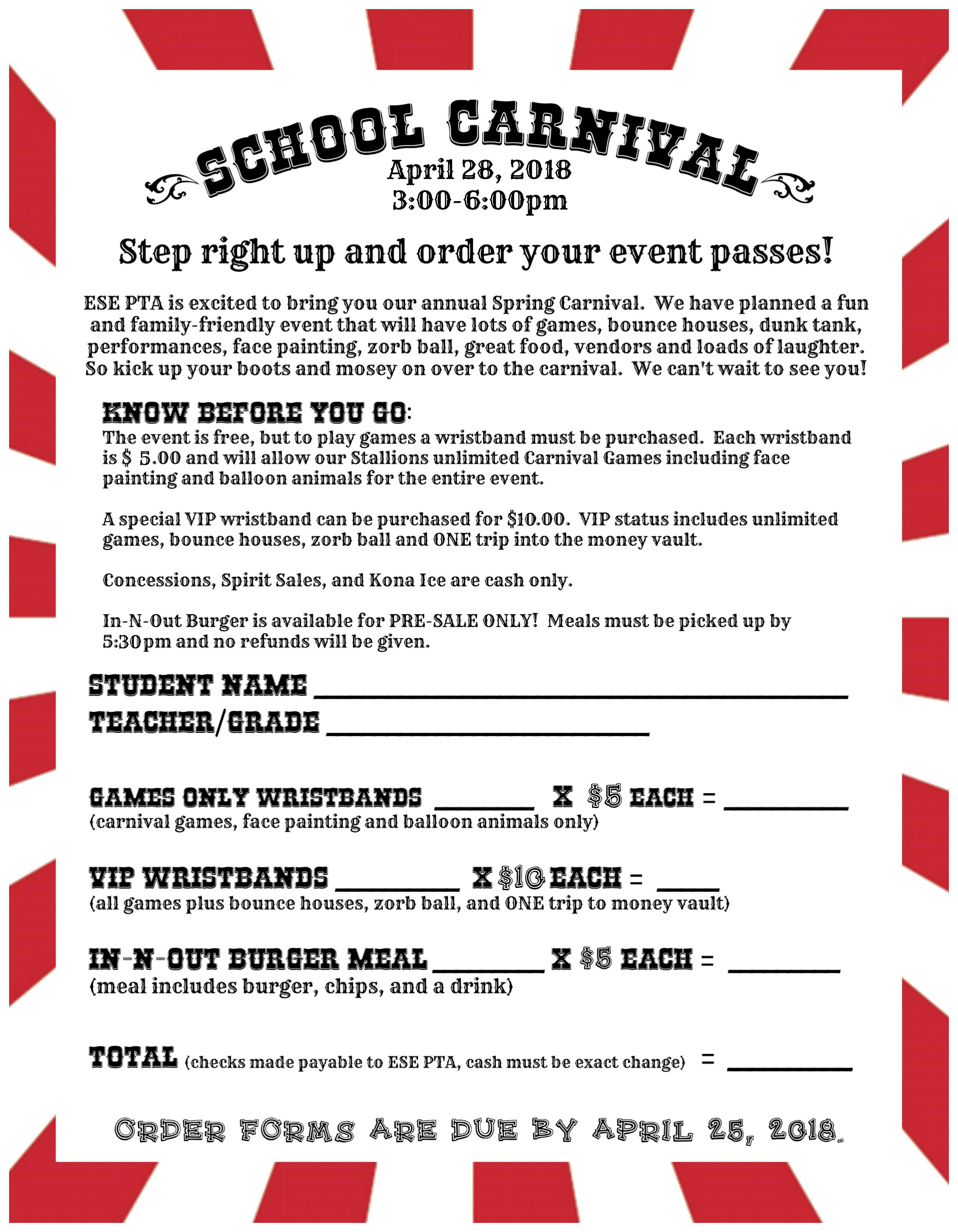 Spring Carnival Wristband & Food Order Form Due April 25th