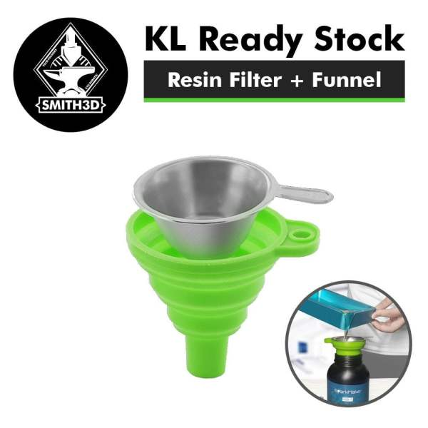 Resin filter and funnel in green color