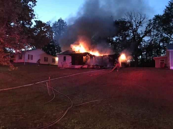 Fire destroys home on Badger Lane