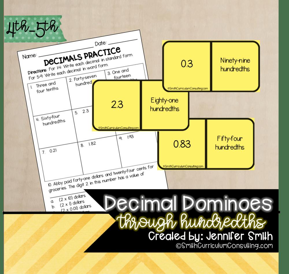 medium resolution of Decimal Dominoes   TEKS 4.2b   TEKS 4.2e • Smith Curriculum and Consulting