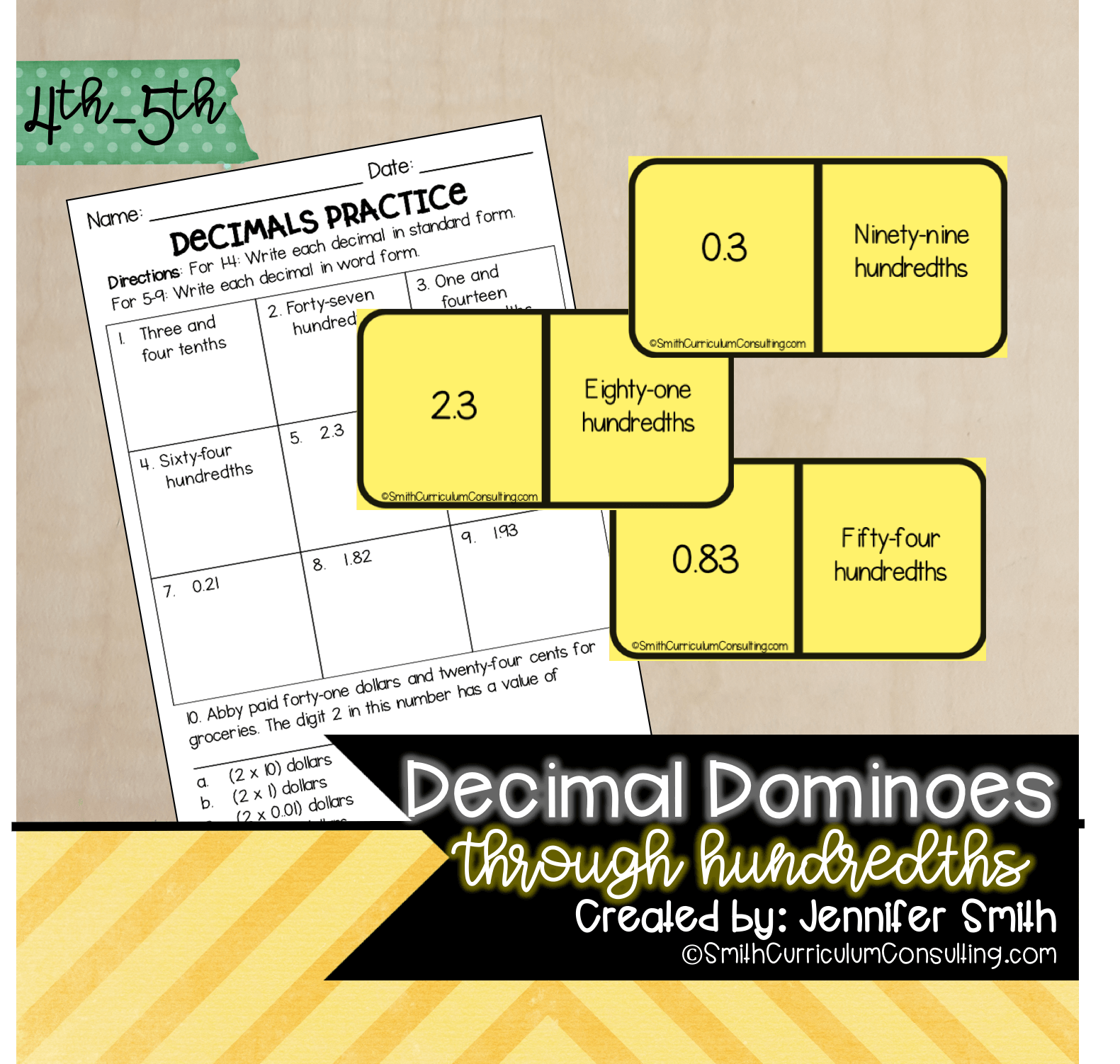 hight resolution of Decimal Dominoes   TEKS 4.2b   TEKS 4.2e • Smith Curriculum and Consulting