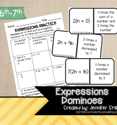 Expressions Dominoes   TEKS 6.5   TEKS 7.5 • Smith Curriculum and Consulting [ 1502 x 1572 Pixel ]