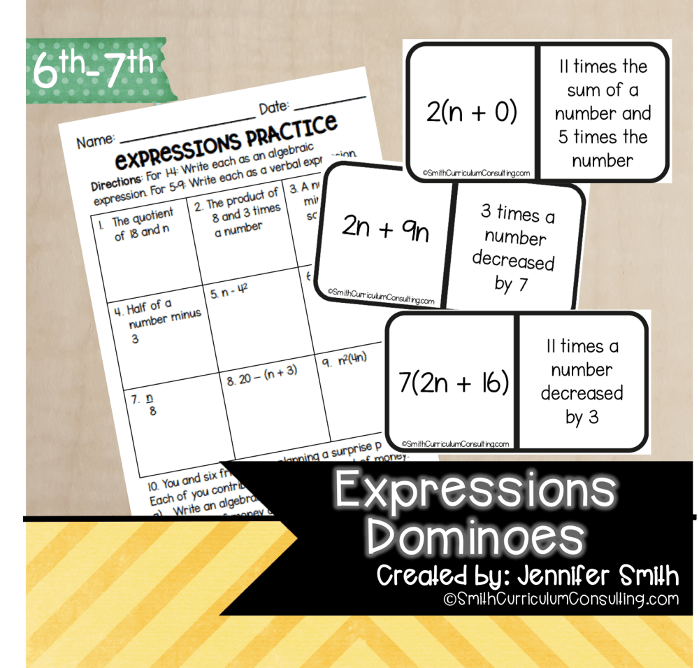 medium resolution of Expressions Dominoes   TEKS 6.5   TEKS 7.5 • Smith Curriculum and Consulting
