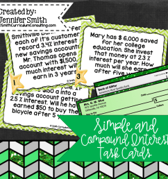 Simple and Compound Interest Task Cards   Financial Literacy   TEKS 7.13e    TEKS 8.12d • Smith Curriculum and Consulting [ 960 x 960 Pixel ]