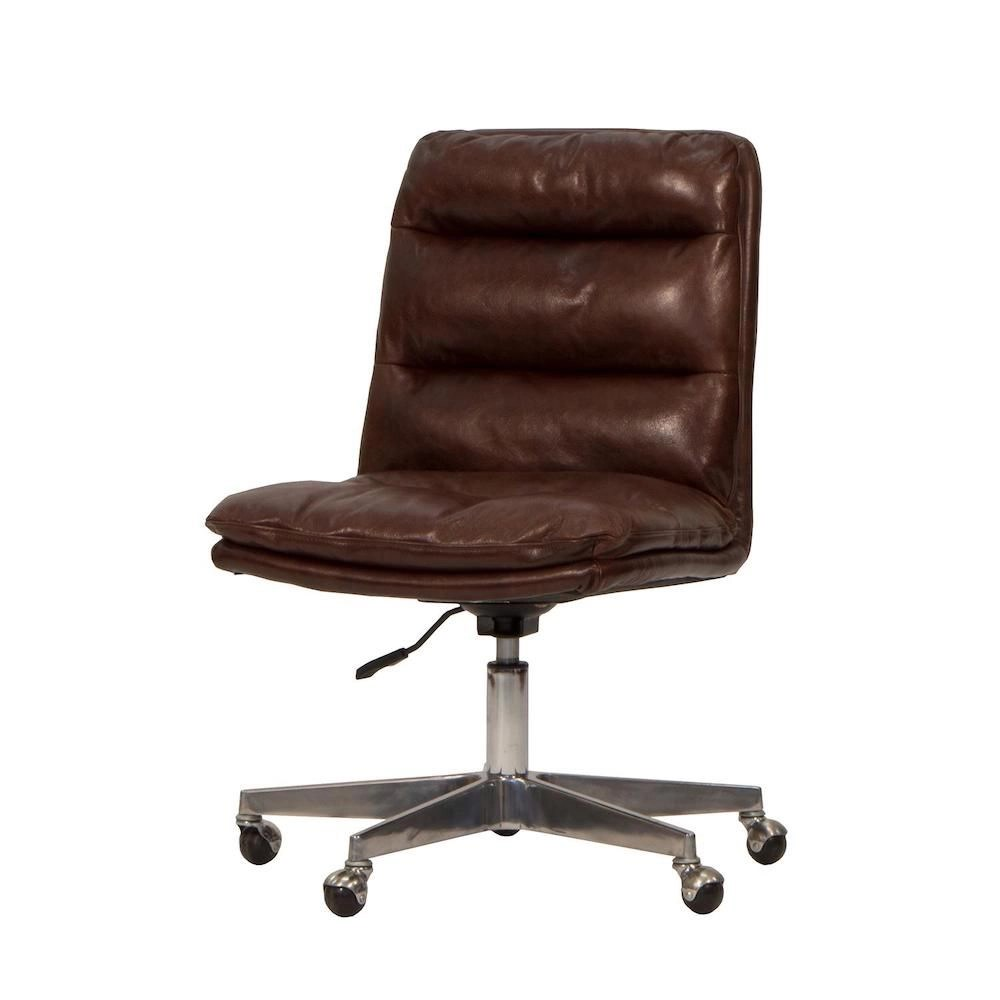 Work Chair Brown Leather Office Chair