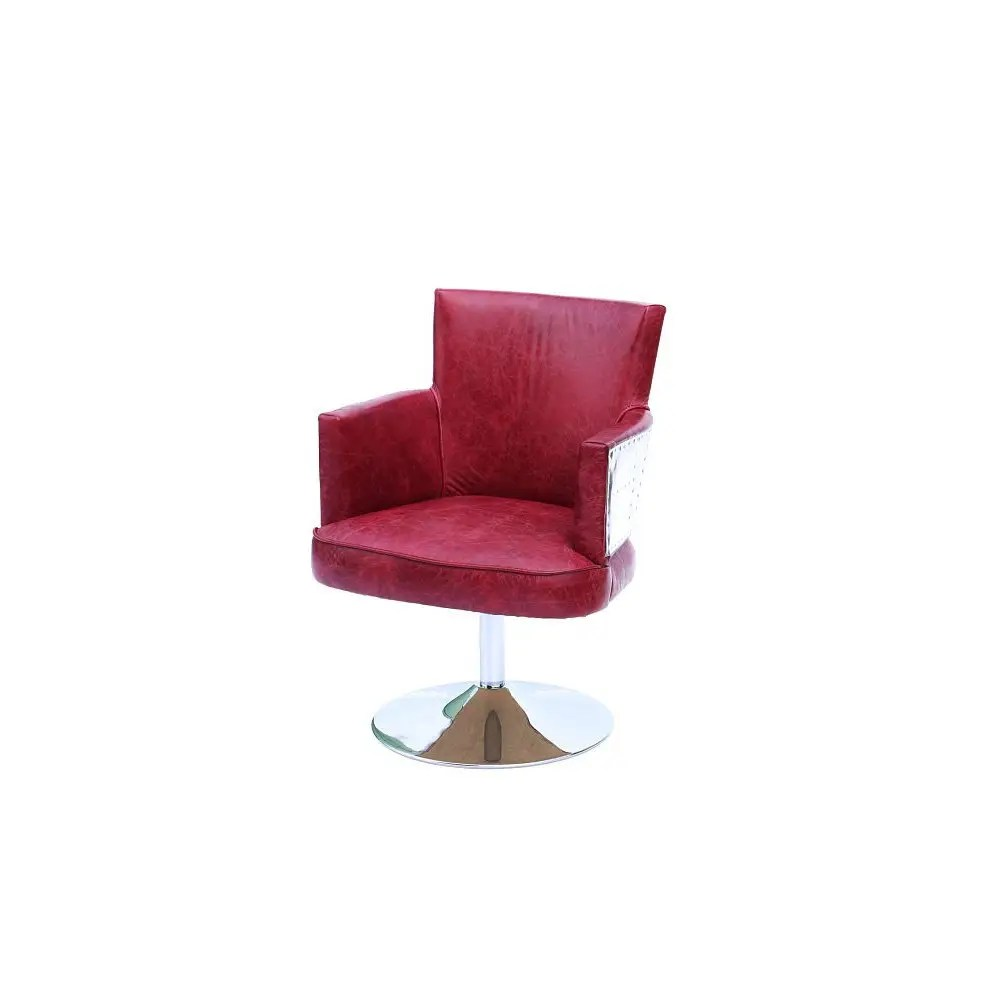Red Leather Swivel Chair Aviator Red Leather Chair