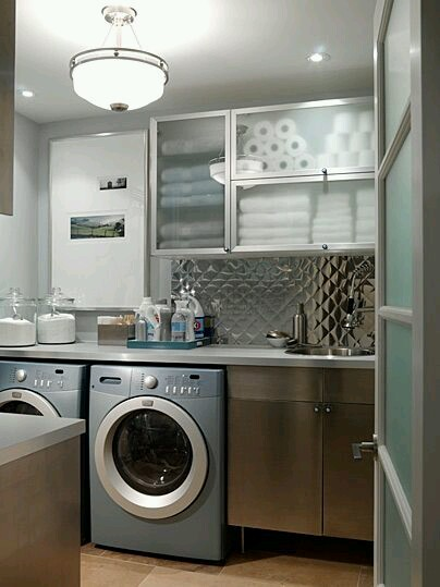 industrial chic laundry room
