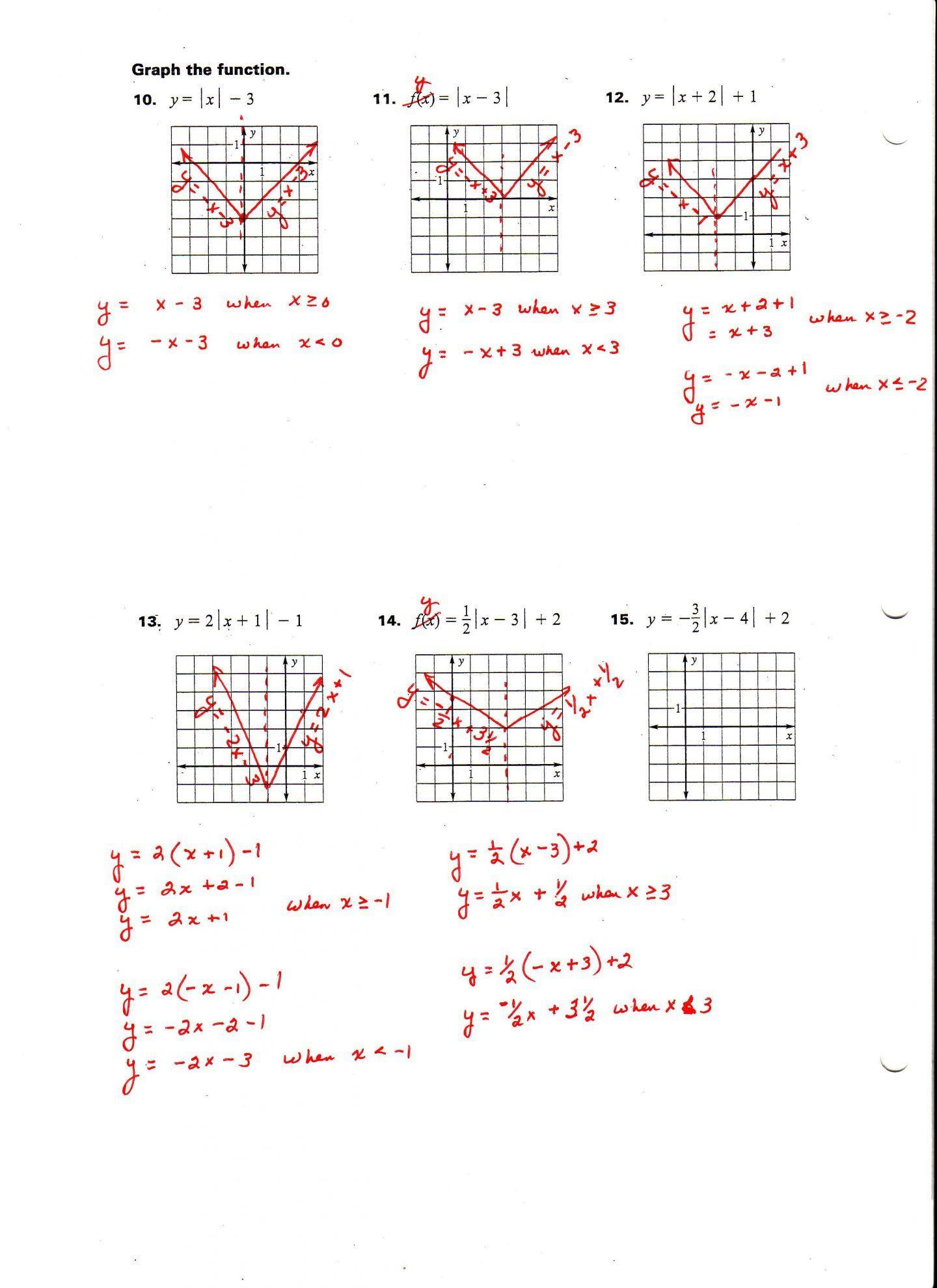 30 Absolute Value Function Worksheet