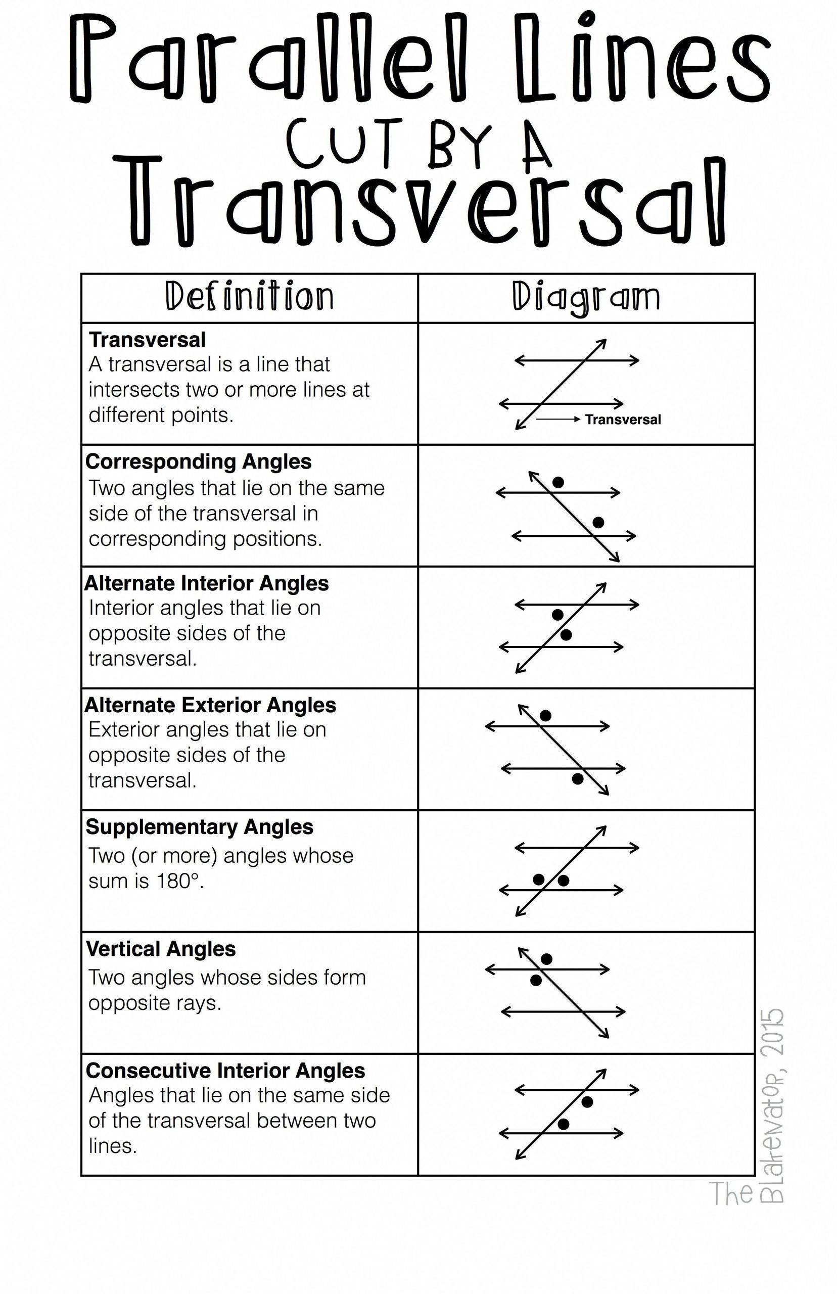 30 Angles And Parallel Lines Worksheet