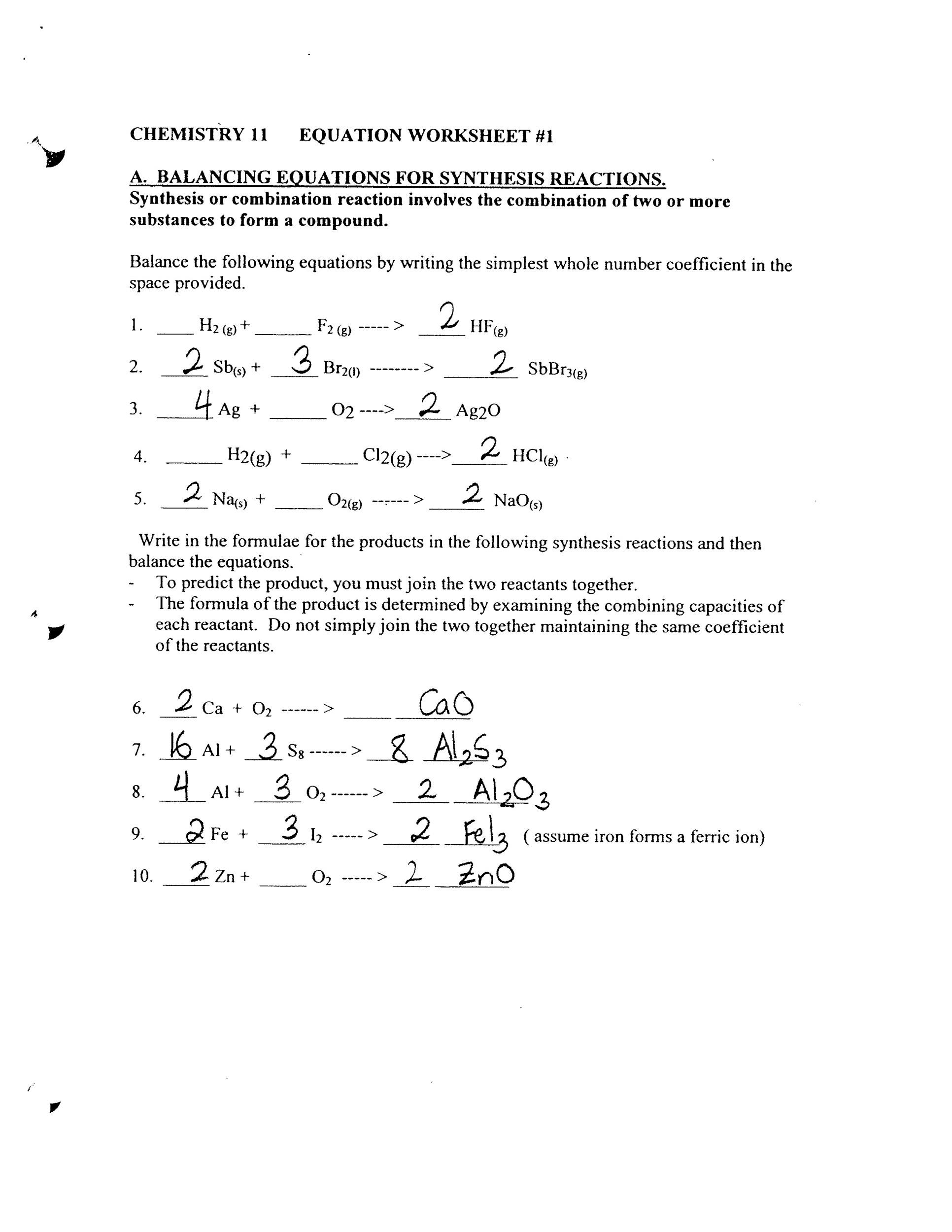 30 Balancing Chemical Equations Worksheet 1