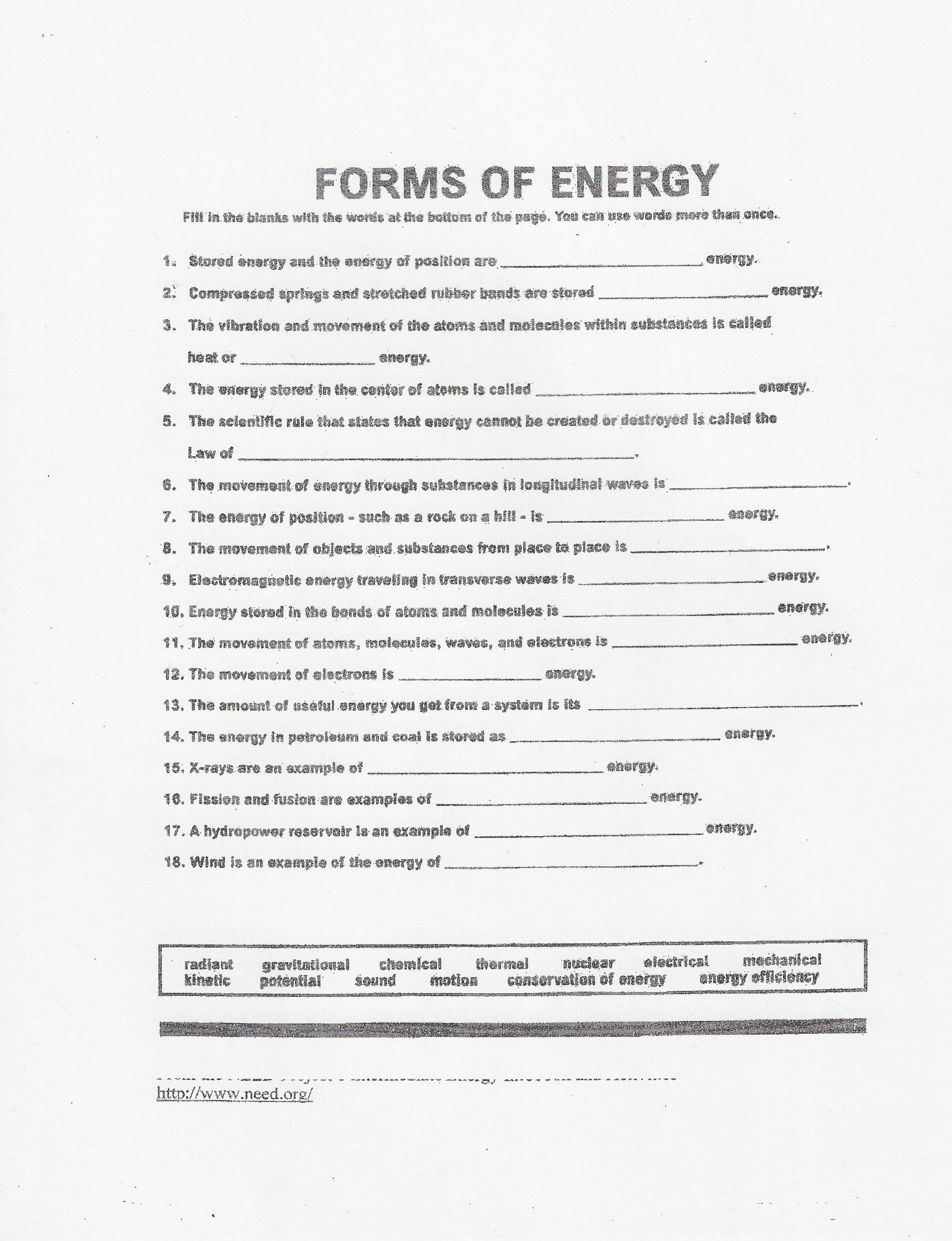 Bill Nye Energy Worksheet Answers Education Template