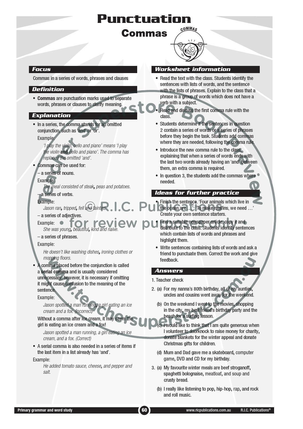 30 Commas In A Series Worksheet