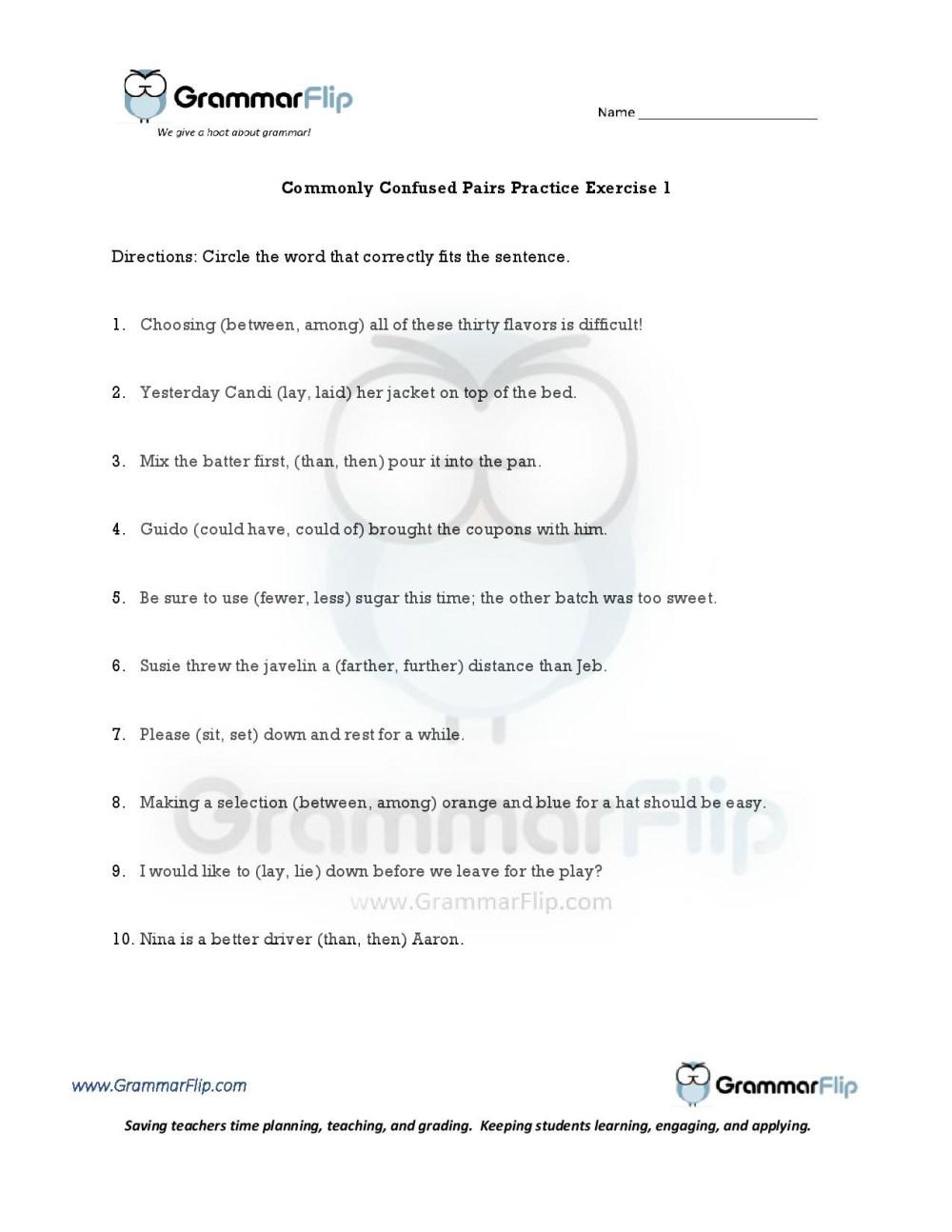 medium resolution of Easily Confused Words Worksheet Pdf   Printable Worksheets and Activities  for Teachers