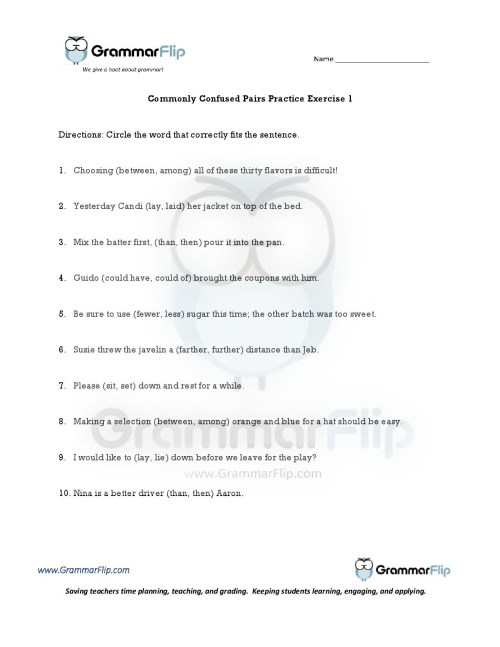 small resolution of Easily Confused Words Worksheet Pdf   Printable Worksheets and Activities  for Teachers