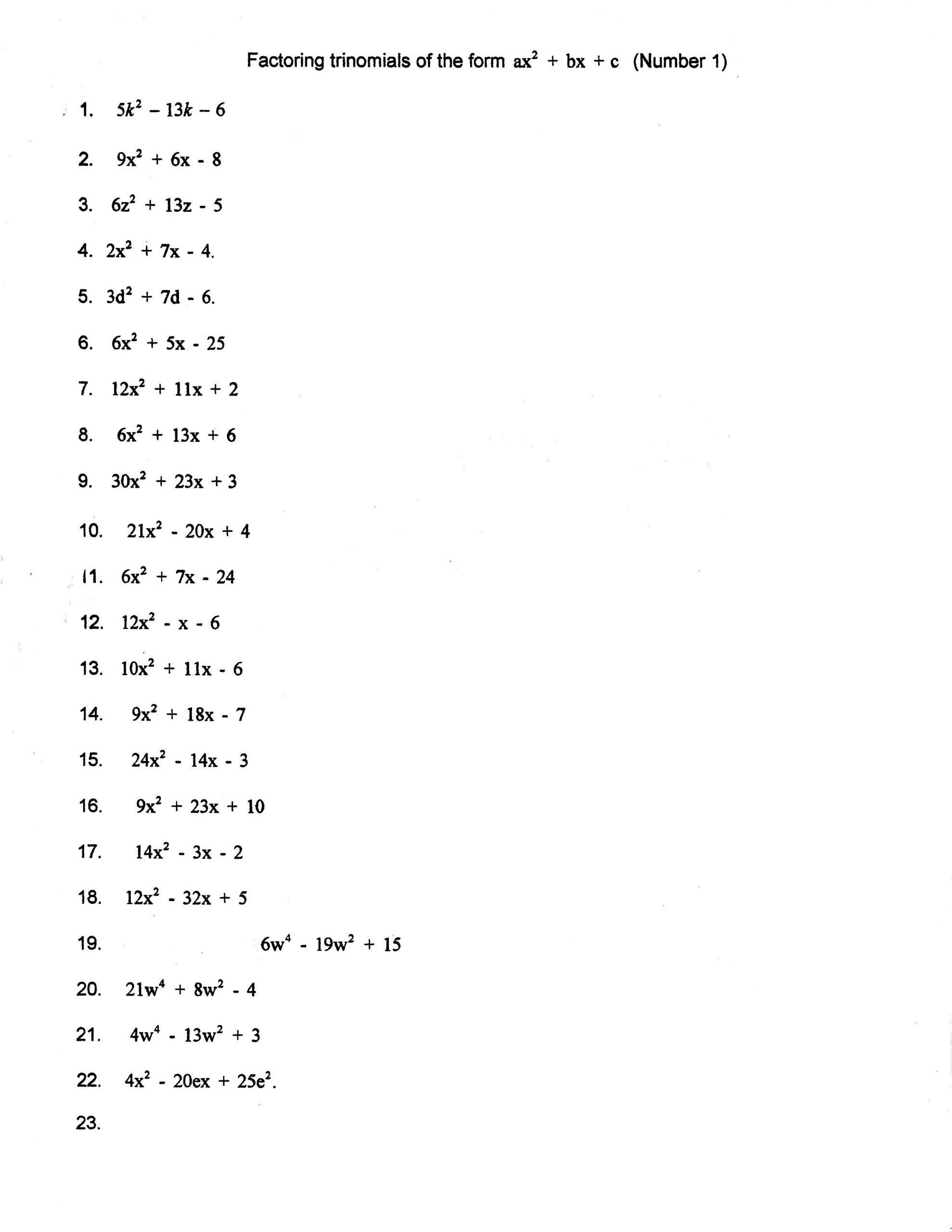 30 Factoring Polynomials Gcf Worksheet