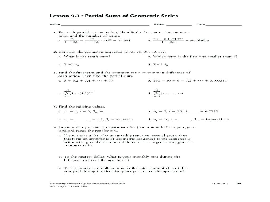 30 Geometric And Arithmetic Sequences Worksheet
