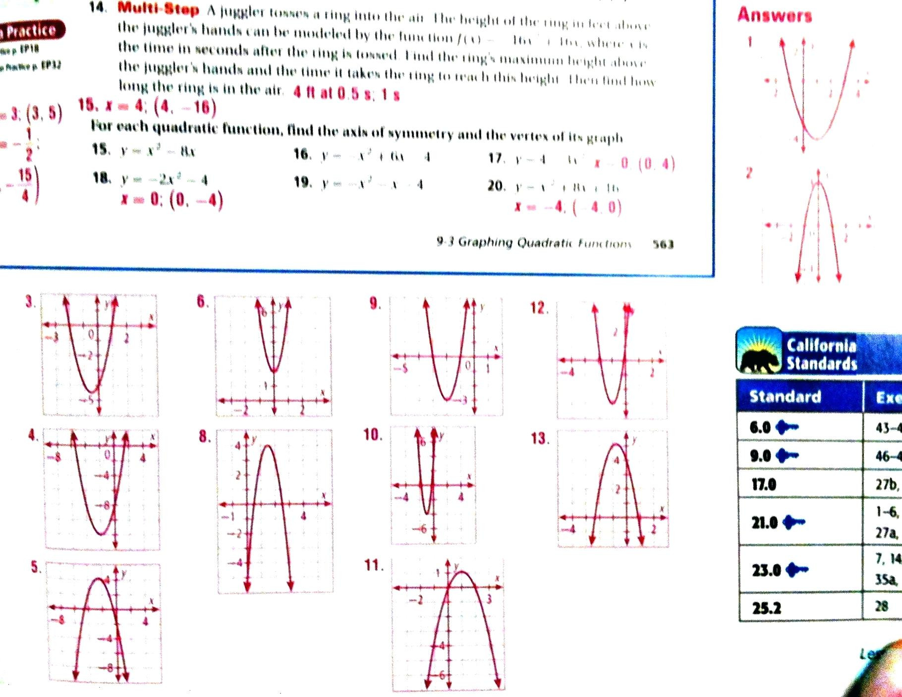 30 Graphing Quadratics Worksheet Answers
