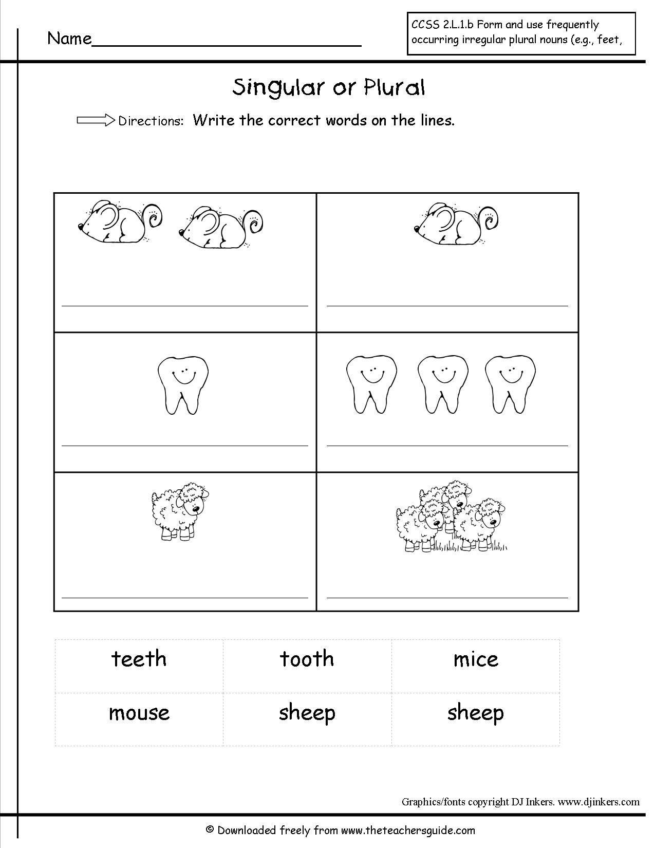 hight resolution of Plural Noun Worksheet For Kindergarten   Printable Worksheets and  Activities for Teachers