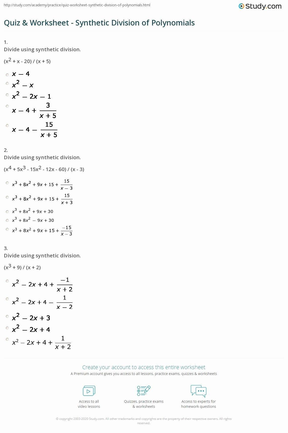 30 Long Division Of Polynomials Worksheet