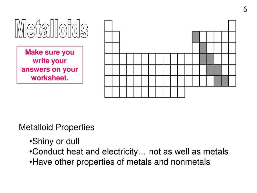 30 Metals Nonmetals And Metalloids Worksheet