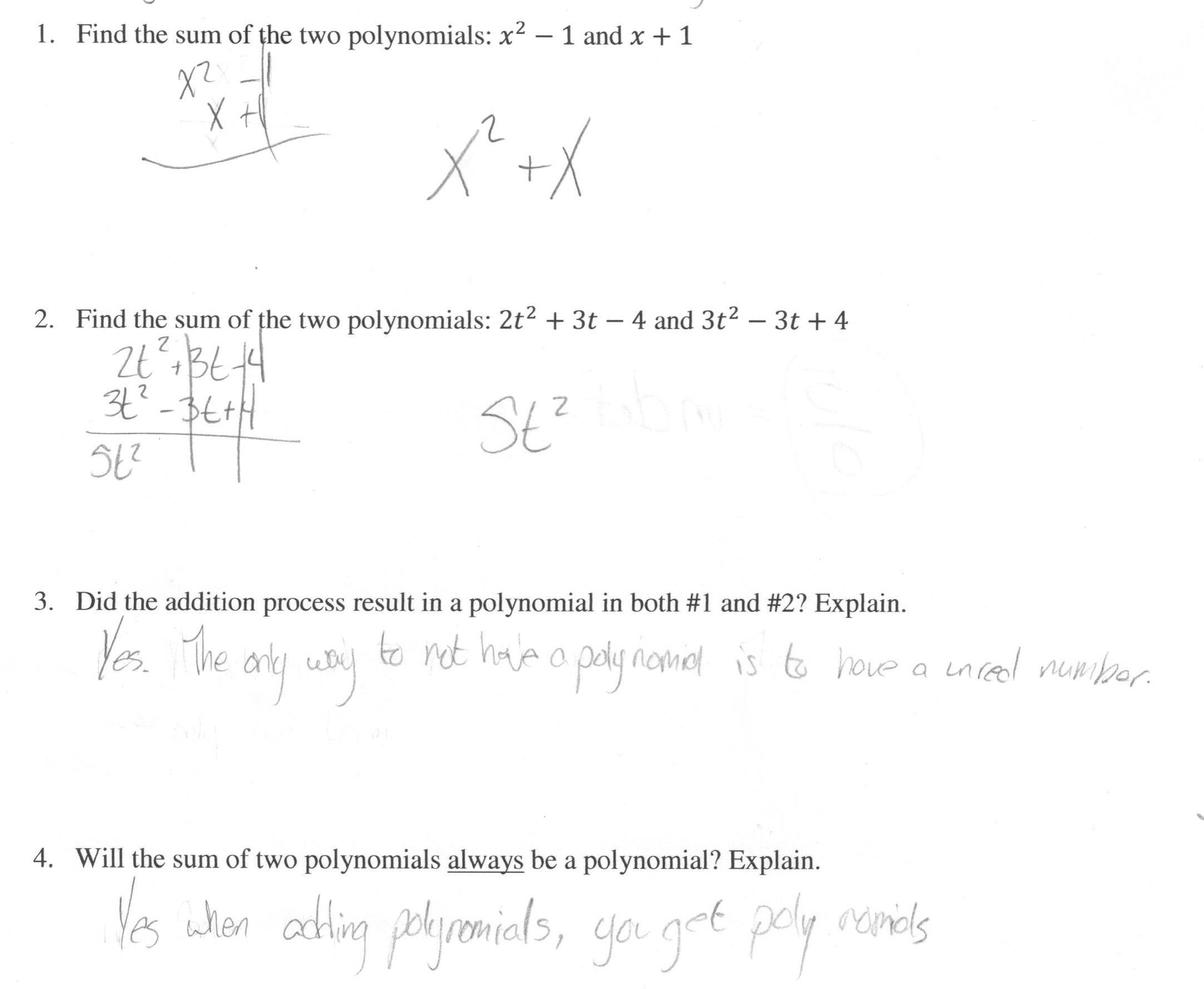 30 Polynomial Word Problems Worksheet