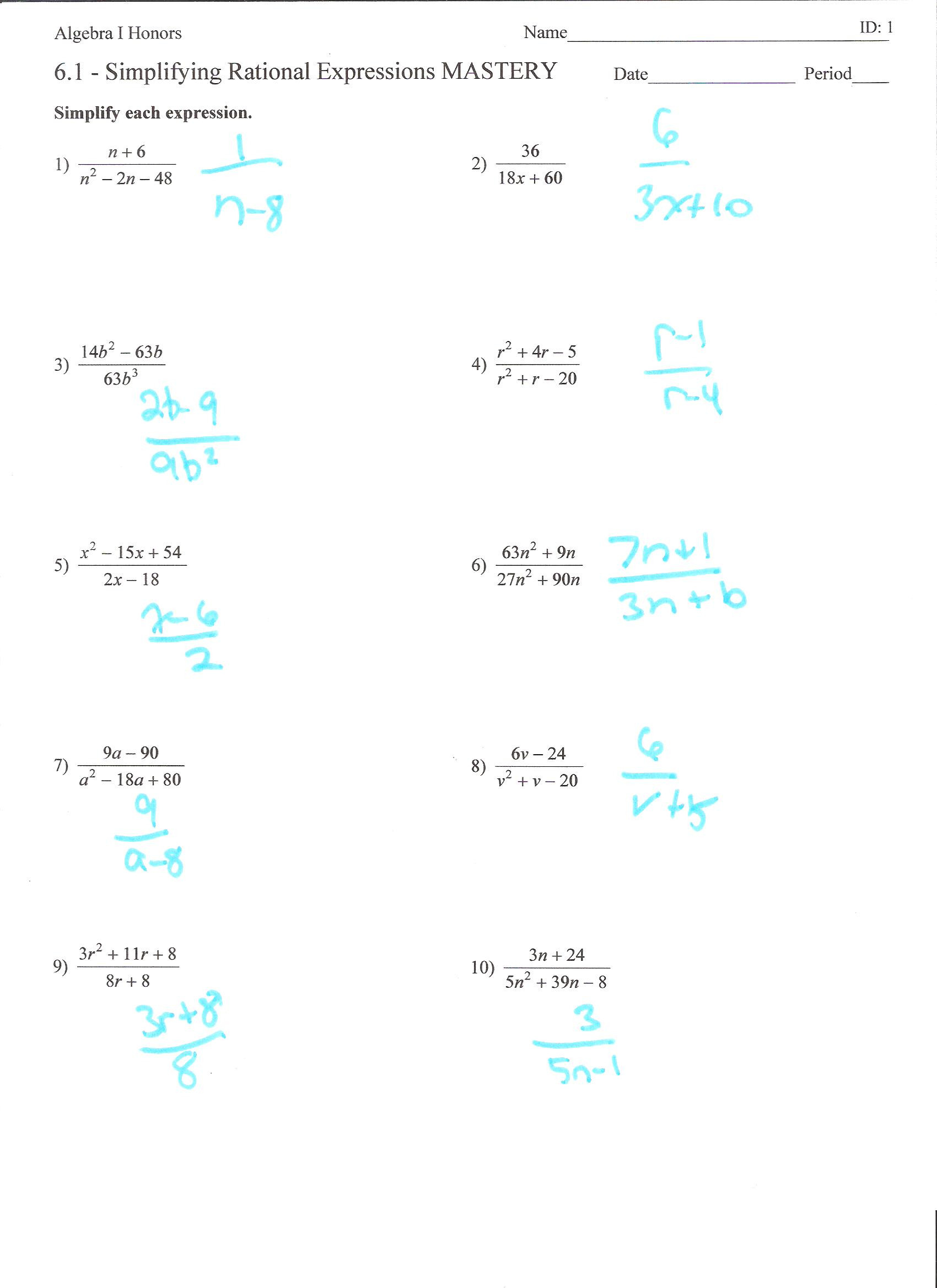 30 Simplifying Algebraic Expressions Worksheet Answers