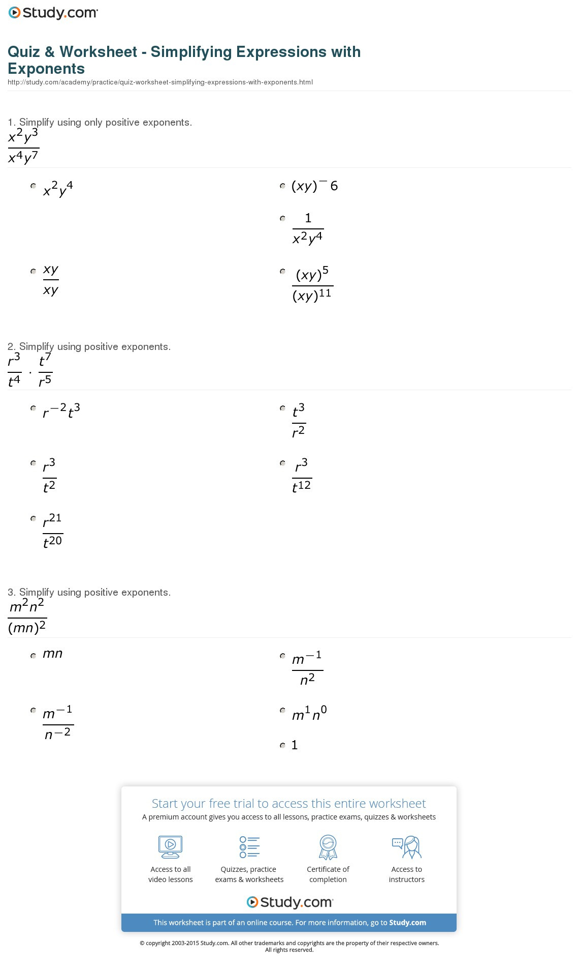 Simplifying Exponential Expressions Worksheet Education