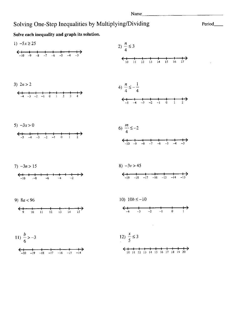 medium resolution of Multi Step Inequalities Worksheets 8th Grade   Printable Worksheets and  Activities for Teachers