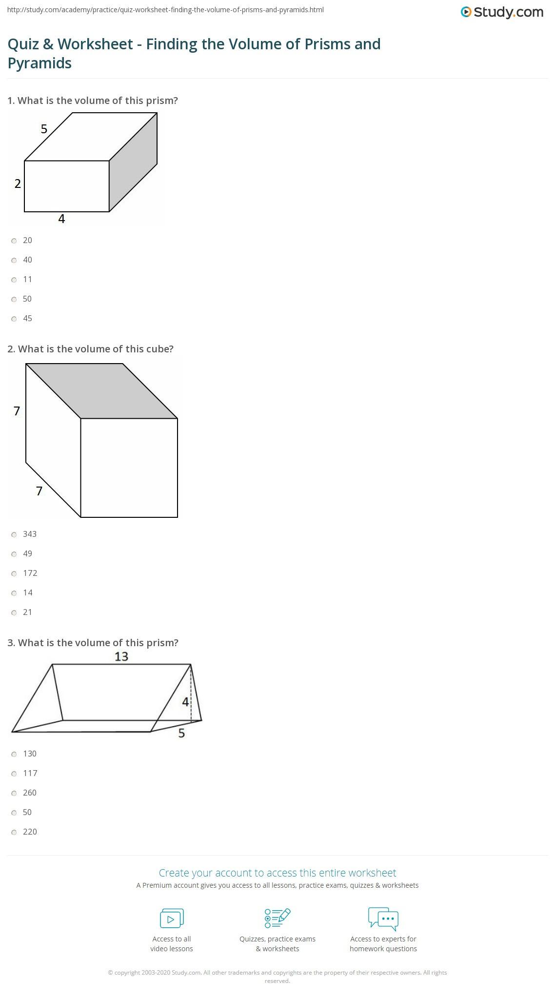 30 Volumes Of Prisms Worksheet