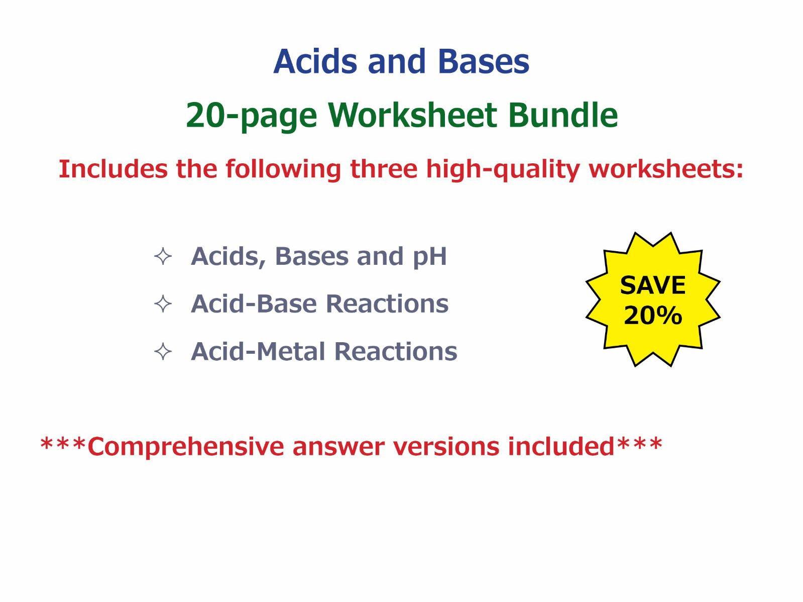30 Acids And Bases Worksheet