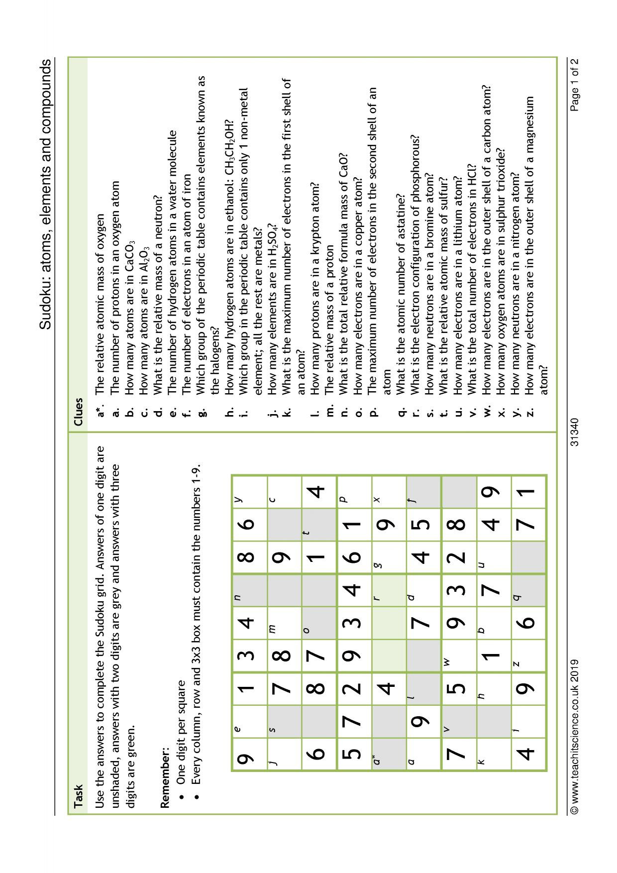 30 Atoms And Elements Worksheet