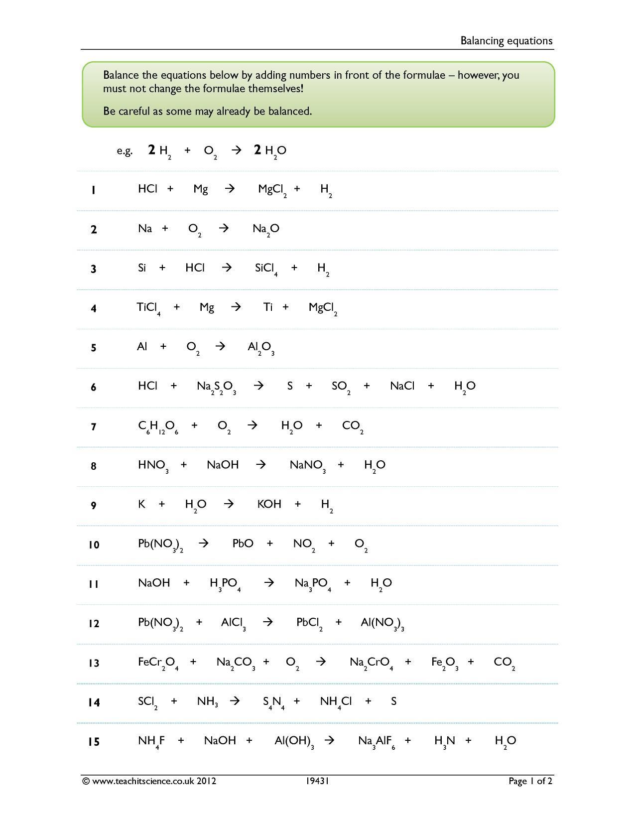 30 Balancing Equations Worksheet Answer Key