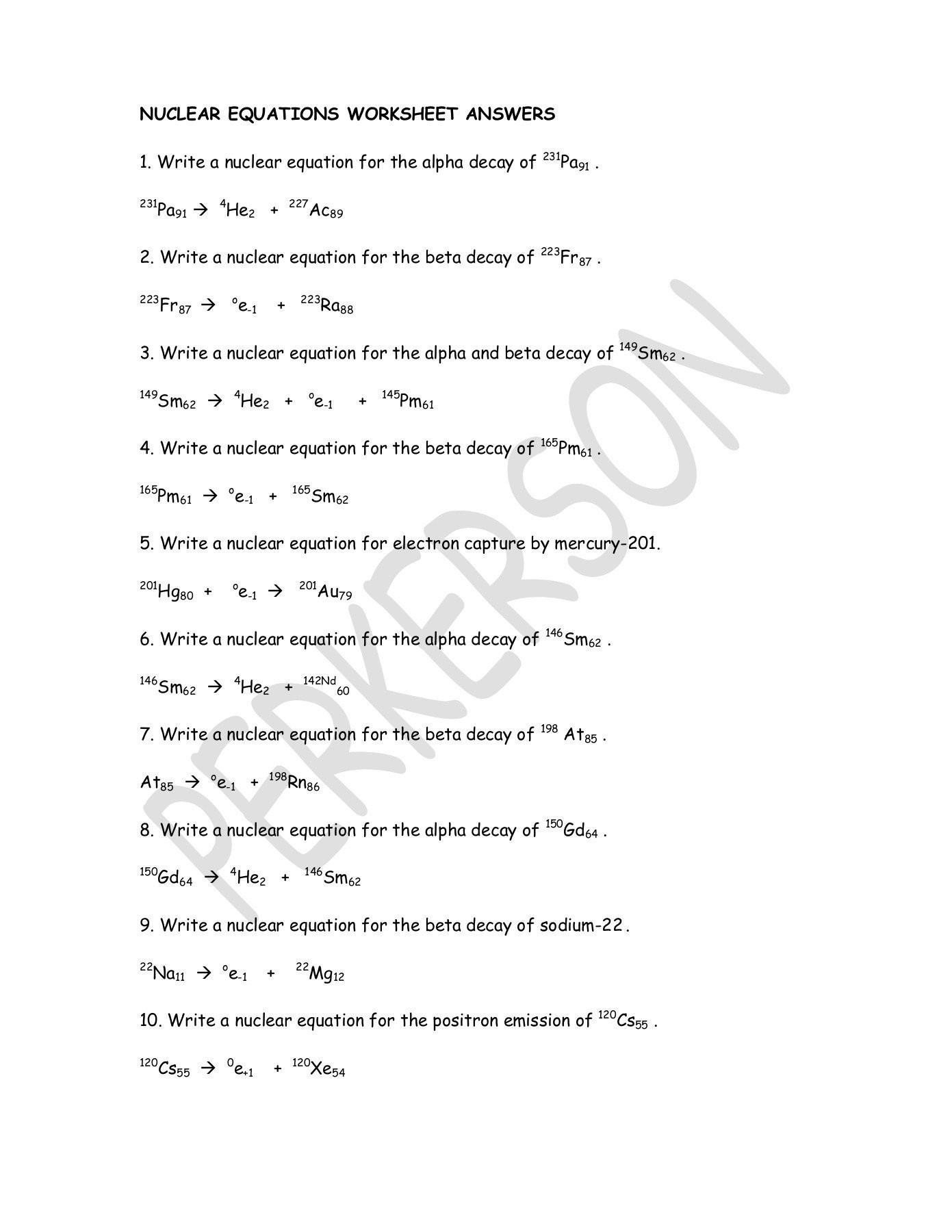 Balancing Nuclear Equations Worksheet Answers Education