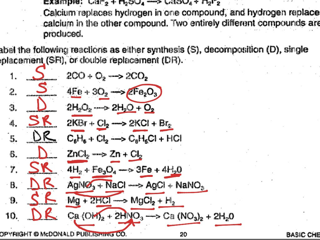 30 Classification Of Chemical Reactions Worksheet