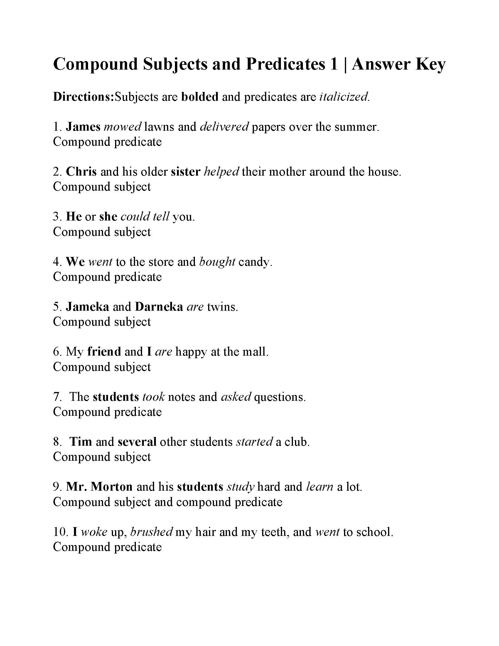 30 Compound Sentences Worksheet