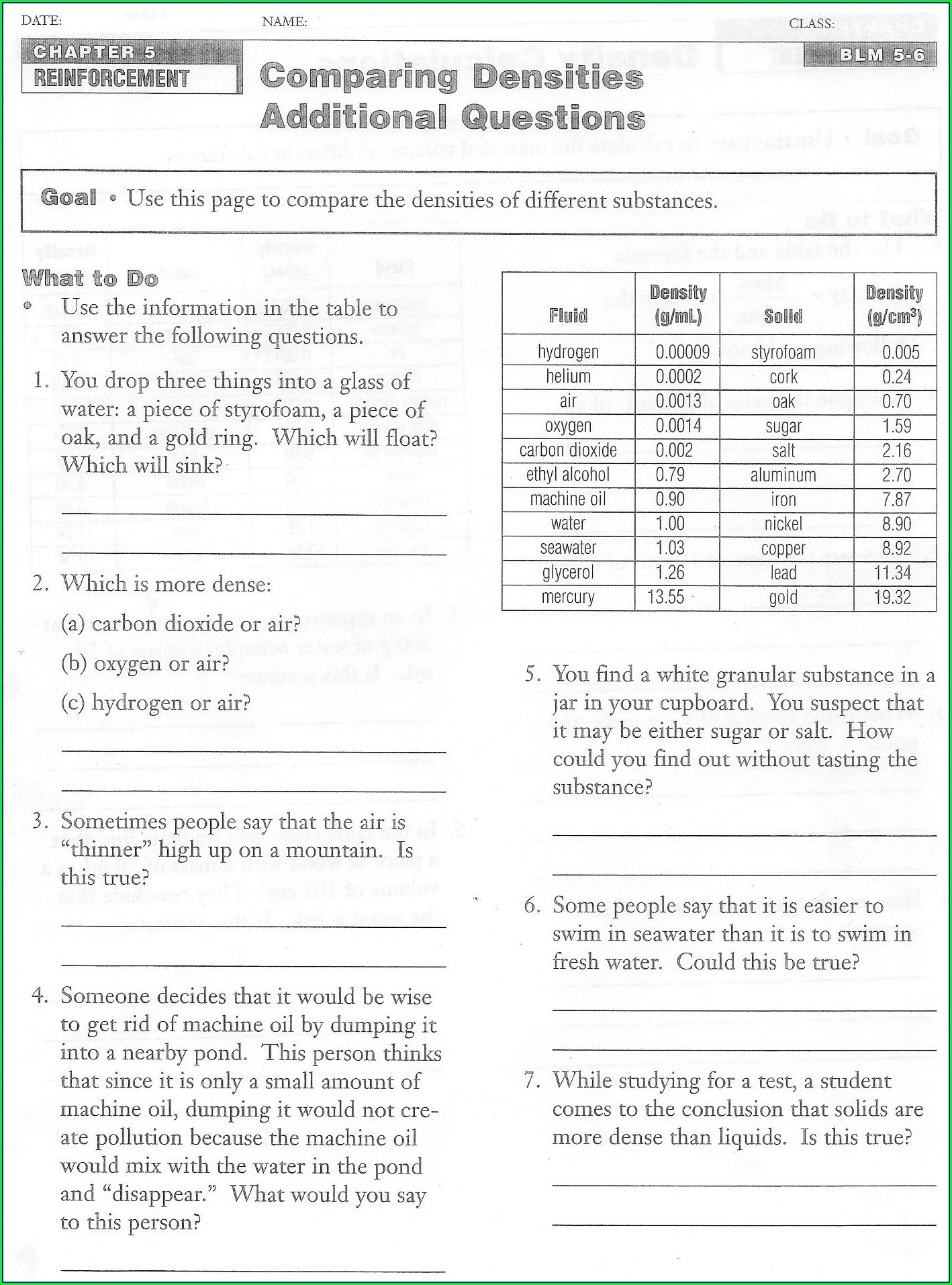 30 Density Worksheet Chemistry Answers