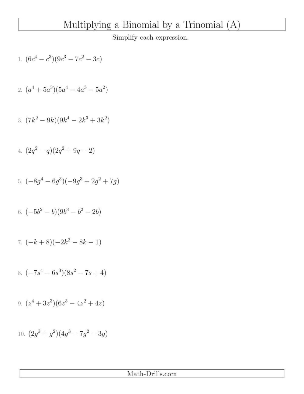 medium resolution of Divide Monomial Worksheet   Printable Worksheets and Activities for  Teachers