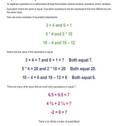Variable Expression Worksheets For 6th Grade   Printable Worksheets and  Activities for Teachers [ 1650 x 1275 Pixel ]