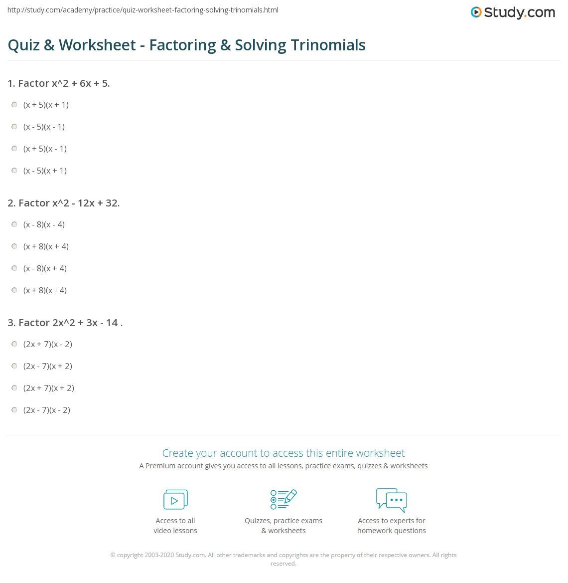 30 Factoring Trinomials A 1 Worksheet