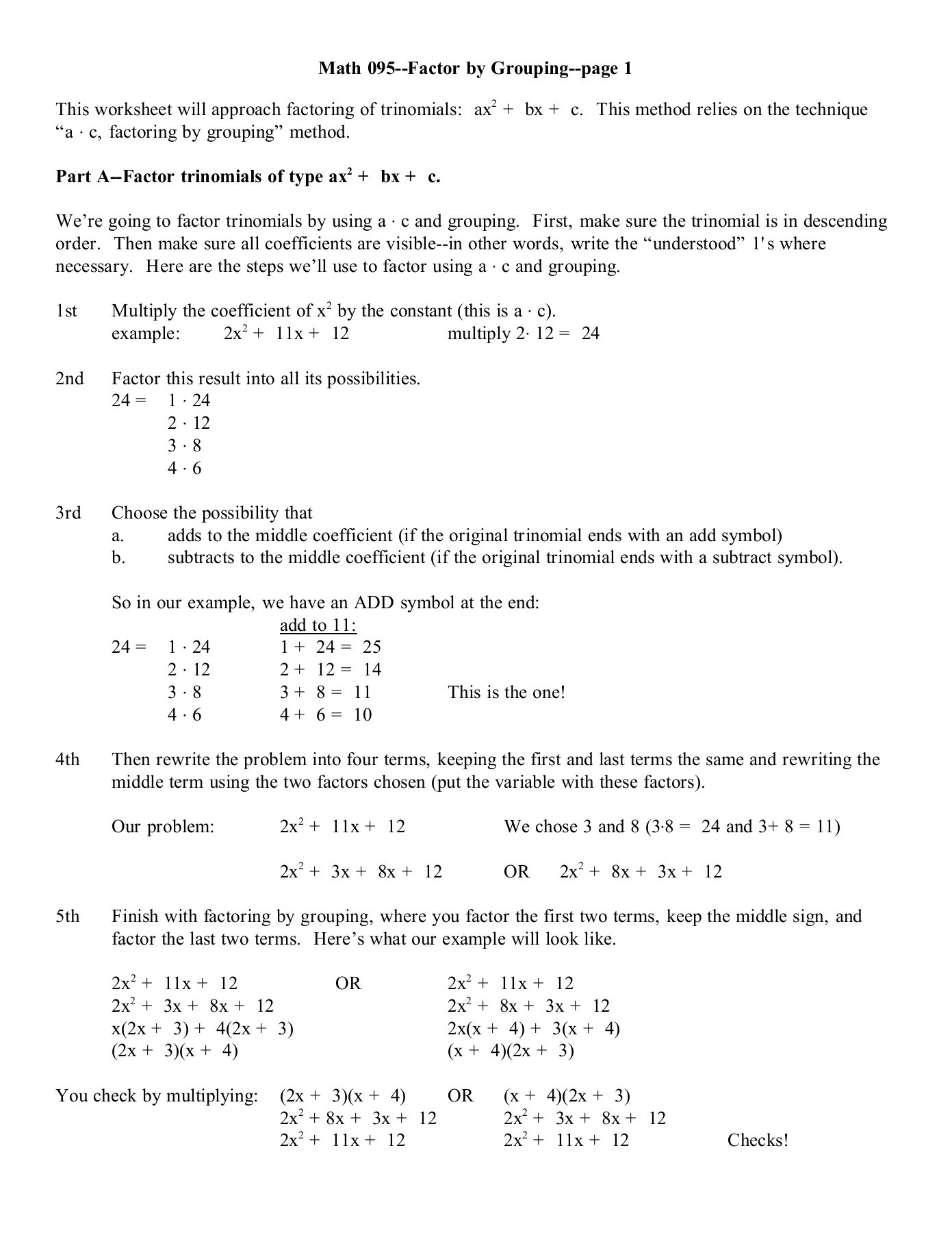 30 Factoring Trinomials Worksheet Answer Key