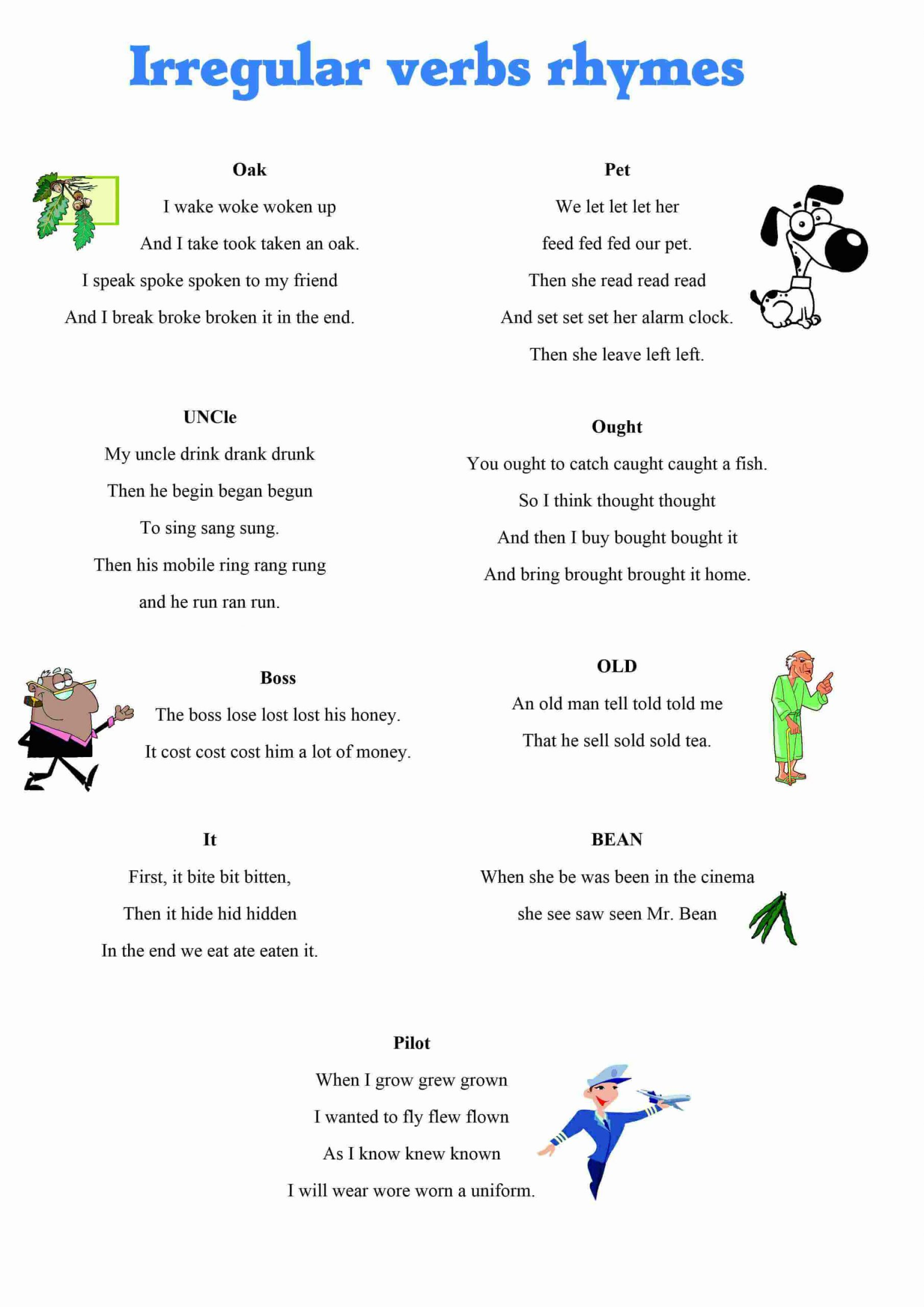 30 Irregular Verbs Worksheet